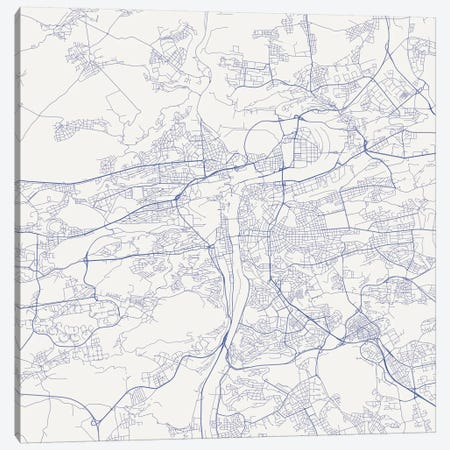 Prague Urban Roadway Map (Blue) Canvas Print #ESV269} by Urbanmap Canvas Art Print