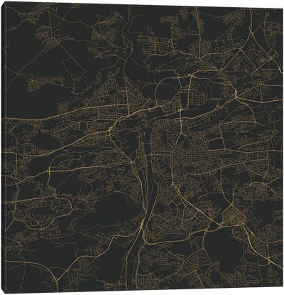 Prague Urban Roadway Map (Gold) Canvas Art Print