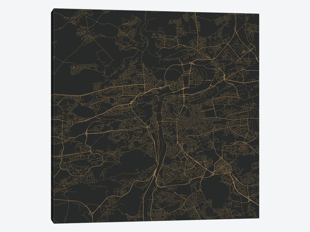 Prague Urban Roadway Map (Gold) by Urbanmap 1-piece Canvas Print