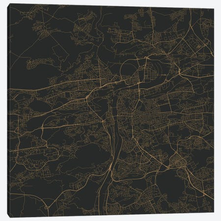 Prague Urban Roadway Map (Gold) Canvas Print #ESV270} by Urbanmap Canvas Artwork