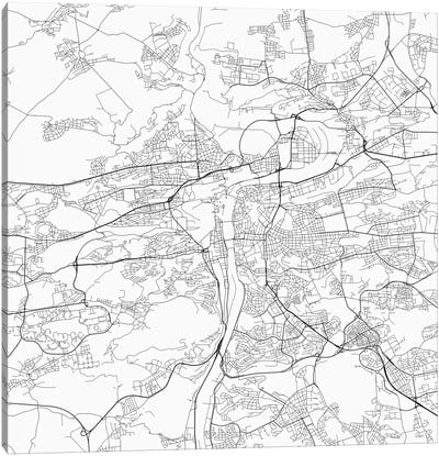 Prague Urban Roadway Map (White) Canvas Art Print