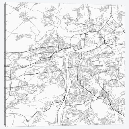 Prague Urban Roadway Map (White) Canvas Print #ESV275} by Urbanmap Canvas Print