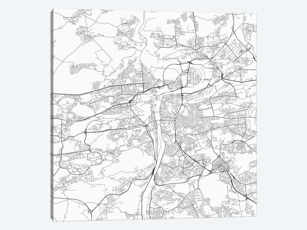 Prague Urban Roadway Map (White) by Urbanmap 1-piece Canvas Wall Art