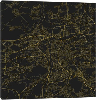 Prague Urban Roadway Map (Yellow) Canvas Art Print