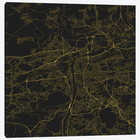 Prague Urban Roadway Map (Yellow) Canvas Print #ESV276} by Urbanmap Art Print