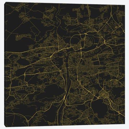 Prague Urban Roadway Map (Yellow) Canvas Print #ESV276} by Urbanmap Art Print