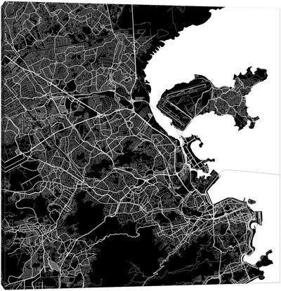 Rio de Janeiro Urban Map (Black) Canvas Print #ESV277