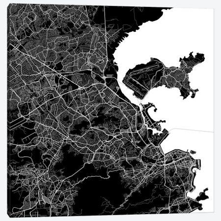 Rio de Janeiro Urban Map (Black) Canvas Print #ESV277} by Urbanmap Canvas Art Print