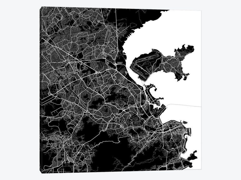 Rio de Janeiro Urban Map (Black) by Urbanmap 1-piece Canvas Art
