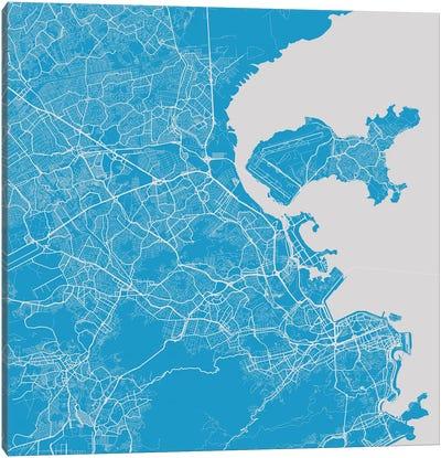 Rio de Janeiro Urban Map (Blue) Canvas Art Print