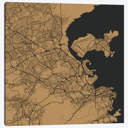 Rio de Janeiro Urban Map (Gold) Canvas Print #ESV279} by Urbanmap Canvas Artwork
