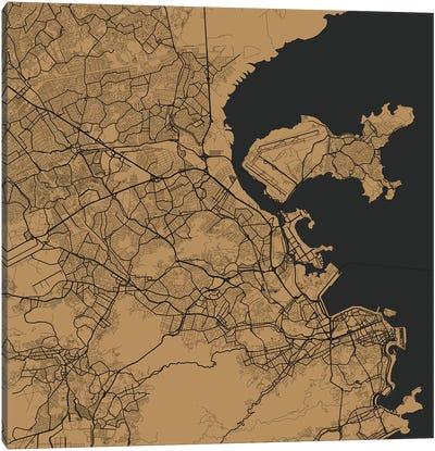 Rio de Janeiro Urban Map (Gold) Canvas Art Print