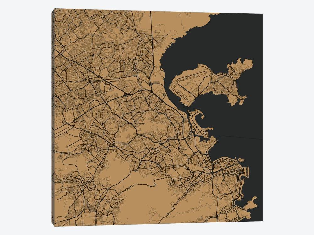 Rio de Janeiro Urban Map (Gold) by Urbanmap 1-piece Canvas Art