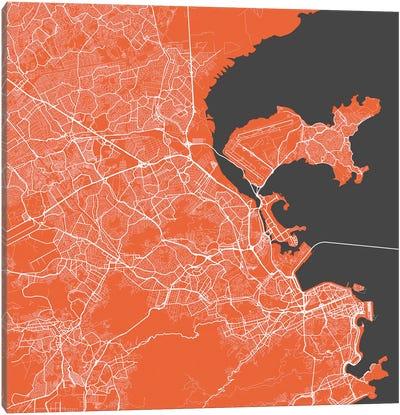 Rio de Janeiro Urban Map (Red) Canvas Art Print