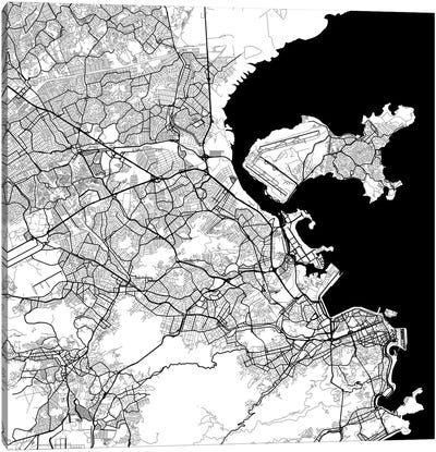 Rio de Janeiro Urban Map (White) Canvas Print #ESV284