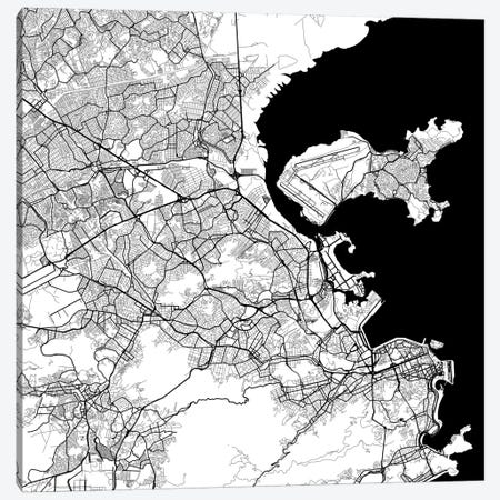 Rio de Janeiro Urban Map (White) Canvas Print #ESV284} by Urbanmap Canvas Art