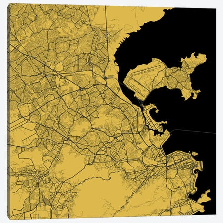 Rio de Janeiro Urban Map (Yellow) Canvas Print #ESV285} by Urbanmap Canvas Wall Art