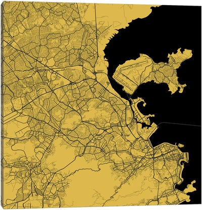 Rio de Janeiro Urban Map (Yellow) Canvas Art Print