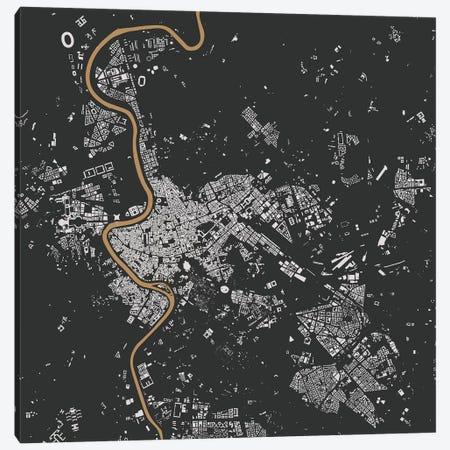 Rome Urban Map (Black & Gold) Canvas Print #ESV286} by Urbanmap Canvas Artwork