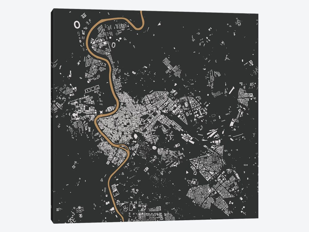 Rome Urban Map (Black & Gold) by Urbanmap 1-piece Canvas Wall Art
