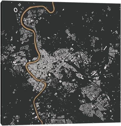 Rome Urban Map (Black & Gold) Canvas Art Print