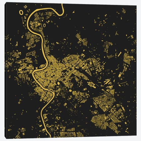 Rome Urban Map (Yellow) Canvas Print #ESV294} by Urbanmap Art Print