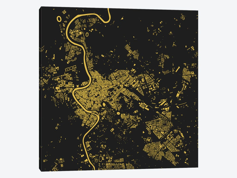 Rome Urban Map (Yellow) by Urbanmap 1-piece Canvas Print