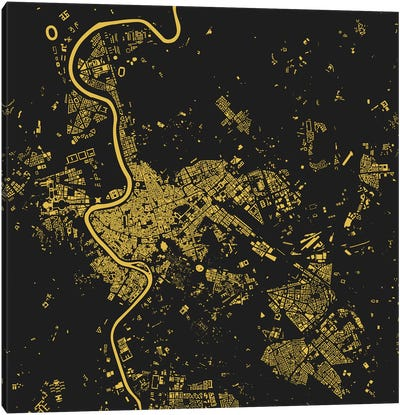Rome Urban Map (Yellow) Canvas Art Print