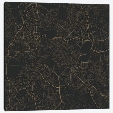 Rome Urban Roadway Map (Black & Gold) Canvas Print #ESV295} by Urbanmap Canvas Art Print