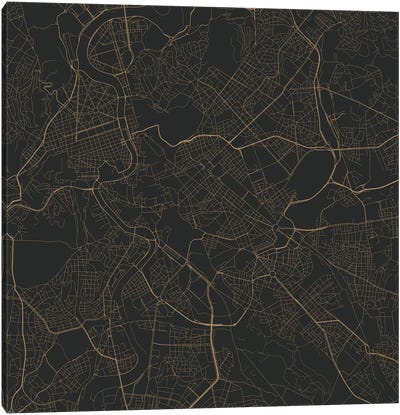 Rome Urban Roadway Map (Black & Gold) Canvas Art Print