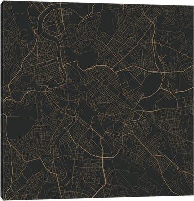 Rome Urban Roadway Map (Black & Gold) Canvas Art Print
