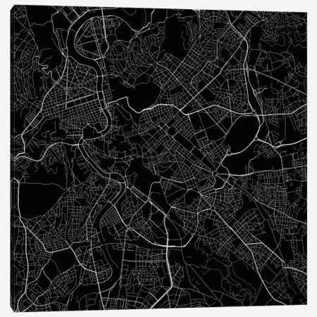 Rome Urban Roadway Map (Black) Canvas Print #ESV296} by Urbanmap Canvas Print