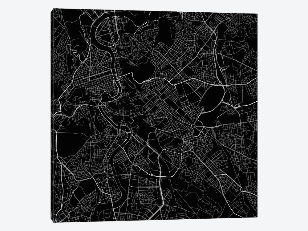 Rome Urban Roadway Map (Black) 1-piece Canvas Print