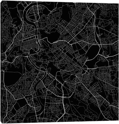 Rome Urban Roadway Map (Black) Canvas Art Print