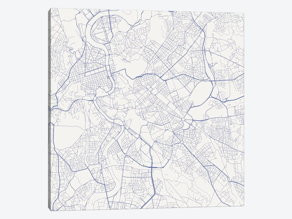 Rome Urban Roadway Map (Blue) by Urbanmap 1-piece Canvas Art