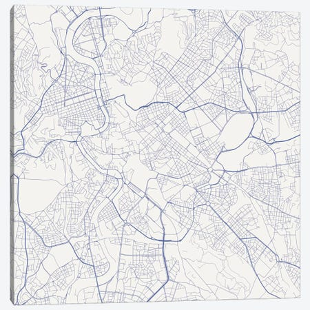 Rome Urban Roadway Map (Blue) Canvas Print #ESV297} by Urbanmap Canvas Art Print
