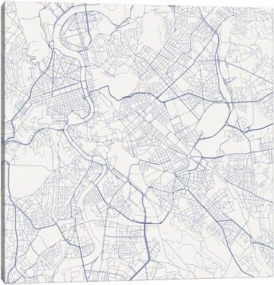 Rome Urban Roadway Map (Blue) Canvas Art Print
