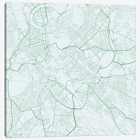 Rome Urban Roadway Map (Green) Canvas Print #ESV298} by Urbanmap Canvas Artwork