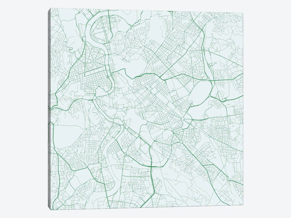 Rome Urban Roadway Map (Green) by Urbanmap 1-piece Art Print
