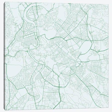 Rome Urban Roadway Map (Green) Canvas Print #ESV298} by Urbanmap Canvas Artwork