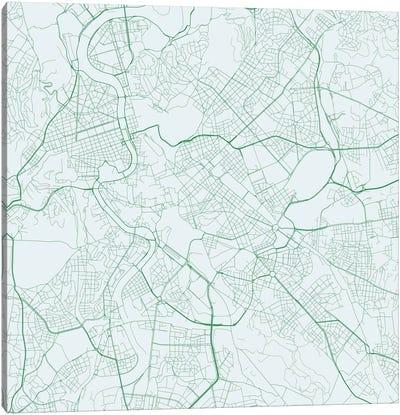 Rome Urban Roadway Map (Green) Canvas Art Print