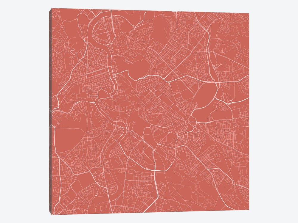 Rome Urban Roadway Map (Pink) by Urbanmap 1-piece Canvas Art
