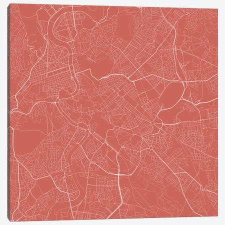 Rome Urban Roadway Map (Pink) Canvas Print #ESV299} by Urbanmap Canvas Artwork