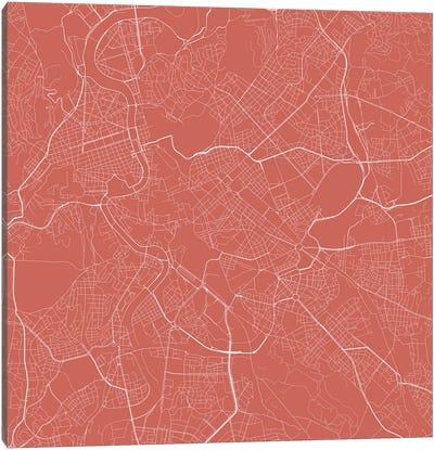 Rome Urban Roadway Map (Pink) Canvas Art Print