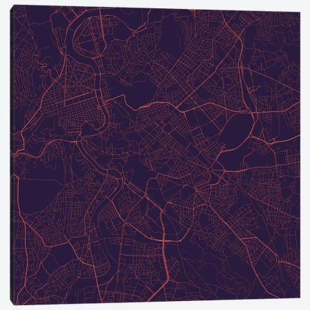 Rome Urban Roadway Map (Purple Night) Canvas Print #ESV300} by Urbanmap Canvas Artwork