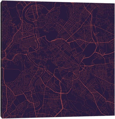 Rome Urban Roadway Map (Purple Night) Canvas Art Print