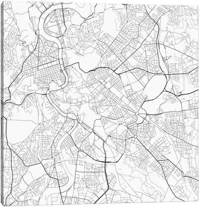 Rome Urban Roadway Map (White) Canvas Art Print