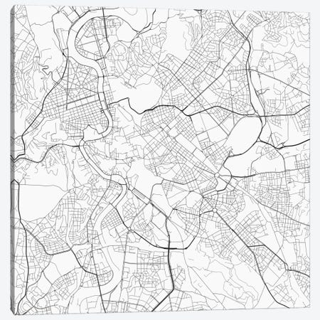 Rome Urban Roadway Map (White) Canvas Print #ESV302} by Urbanmap Canvas Art