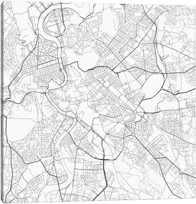 Rome Urban Roadway Map (White) Canvas Art Print