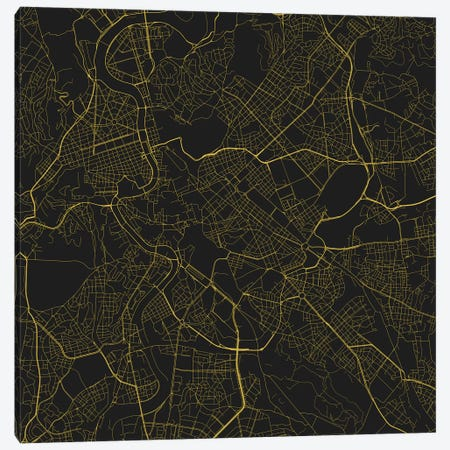 Rome Urban Roadway Map (Yellow) Canvas Print #ESV303} by Urbanmap Canvas Wall Art